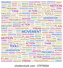 MOVEMENT. Word collage on white background. Illustration with different association terms.