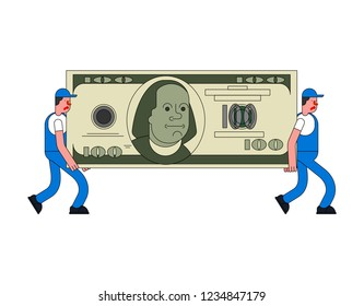 Movers and large money. Porters carry Big dollar. Delivery service. Loader mover man holding. Moving Vector illustration