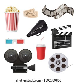 Movie 3d icons. Camera cinema stereo glasses popcorn clapper and megaphone for film production vector realistic pictures. Cinema clapper, video reel and popcorn illustration