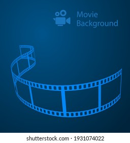 movie abstract background blue with film reel and video camera