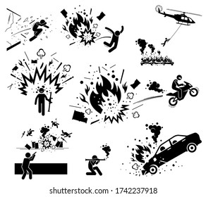 Movie action hero bomb explosion scene. Vector of man escape from bomb explosion with motorcycle, jump away, hang on helicopter, and smash through glass. Hero destroy things with bazooka bomb and gun.