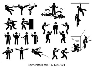 Movie action hero fight scene. Vector clipart of man fighting many bad people. He is surrounded but beat the gangs. The stick figure action hero use gun in different poses. He is strong and skillful.