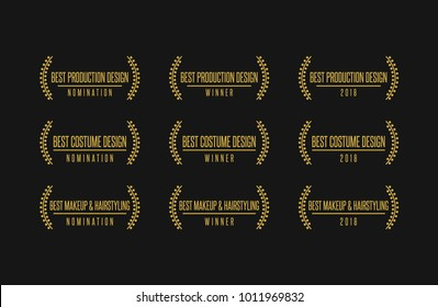 Movie award best design production costume makeup hairstyling nomination winner vector icon logo set