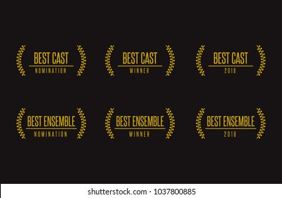 Movie award best ensemble cast acting vector illustration. Nomination winner laurel black and gold icon set