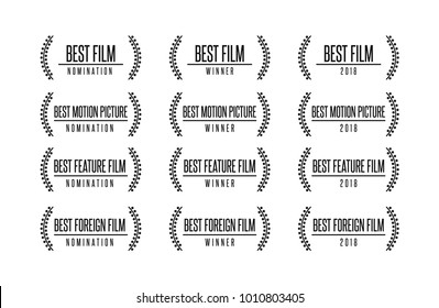 Movie award best feature film motion picture nomination winner vector logo icon set