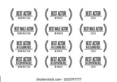 Movie award best male actor leading supporting role vector logo icon set