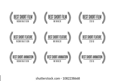 Movie award best short film and motion picture nomination winner vector icon set