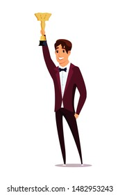 Movie award win ceremony flat vector illustration. Smiling men in tuxedos cartoon character. Happy actor holding trophy, gold statuette. Cinema industry, show business