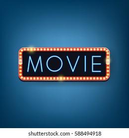 Movie billboard with neon lighting text. Vector illustration.