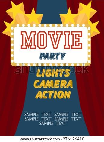 movie birthday party invitation stock vector royalty free