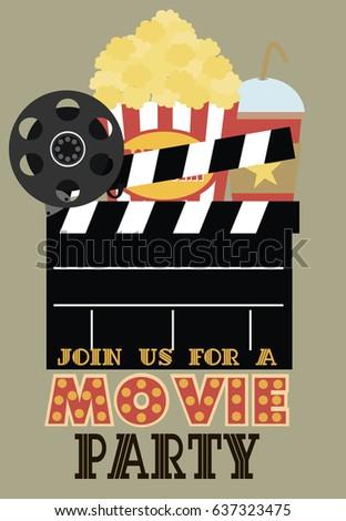 movie birthday party invitation card design stock vector royalty
