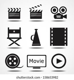 Movie black icons set