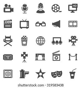 Movie black icons set.Vector