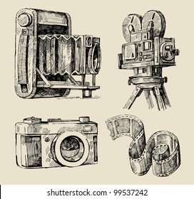 movie camera hand drawn