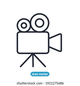 movie camera icon. Entertainment symbol template for graphic and web design collection logo vector illustration