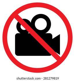 Movie camera icon. Red prohibition sign. Stop symbol