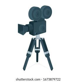 Movie camera. Realistic vintage movie camera and tripod vector illustration. Part of set.
