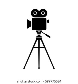 Movie camera vector icon, isolated object on white background