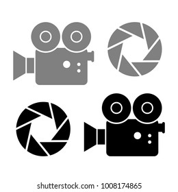 Movie camera vector icons