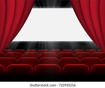 Movie cinema auditorium, premiere poster design with white screen and rows of red chairs and curtains in the hall. Empty space for branding with glowing illuminating rays of light. Vector background.
