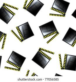 movie cinema clapboard pattern, abstract seamless texture; vector art illustration