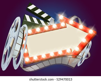 Movie cinema film sign with light bulbs arrow sign clapperboard and film reel