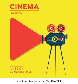 Movie cinema poster design. Cinema festival illustration.
