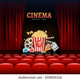 Movie cinema premiere poster design. Vector template banner for show with curtains, seats, popcorn, tickets.