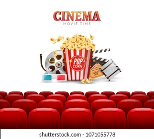 Movie cinema premiere poster design. Vector template banner for show cinema with seats, popcorn, tickets.