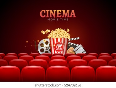 Movie cinema premiere poster design. Vector template banner for show with seats, popcorn, tickets