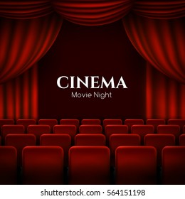 Movie cinema premiere poster design with red curtains. Vector template banner.