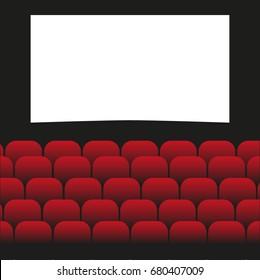 Movie cinema premiere poster design with white screen. Vector background.