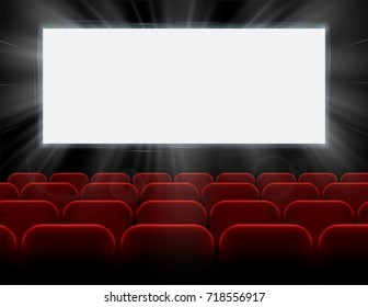 Movie cinema premiere poster design with white screen and rows of red chairs in the darkness. Empty space for branding with glowing illuminating rays of light to attract attention. Vector background.