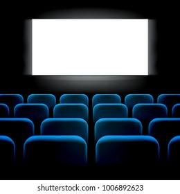 Movie cinema premiere screen with blue seats. Graphic concept for your design