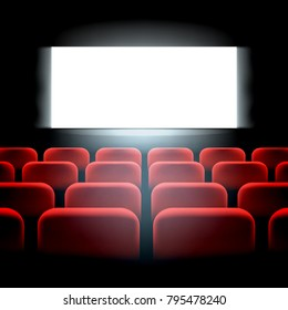 Movie cinema premiere screen with red seats. Graphic concept for your design