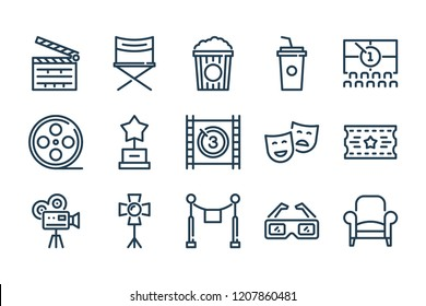 Movie and cinema related line icon set. Film and TV linear vector icon collection.