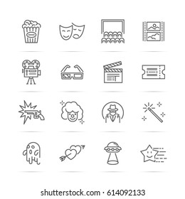 movie and cinema vector line icons, minimal pictogram design, editable stroke for any resolution, entertainment concept