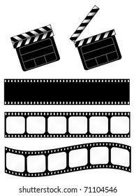 movie clapper with 3 film strips. Also available as jpeg.