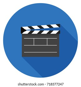 Movie clapper board icon. Illustration in flat style. Round icon with long shadow.