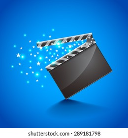 Movie clapper board on blue background photo realistic vector
