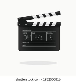 Movie clapper board. Vector illustration.