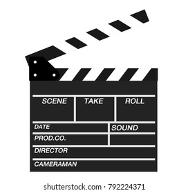 Movie clapper open isolated on white background. Shown slate board.Realistic movie clapperboard. Clapper board isolated on white with clipping path included. image for objects and illustration.