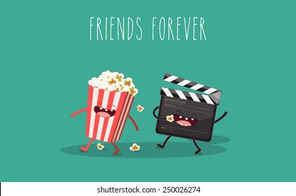 Movie clapper and popcorn in box. Vector cartoon. Movies, cinema. Vector cartoon. fast food. Friends forever.
