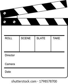 Movie Clapperboard Clapper, Clapboard Cue Card Clacker Slate Board or Slapperboard Retro Black and White