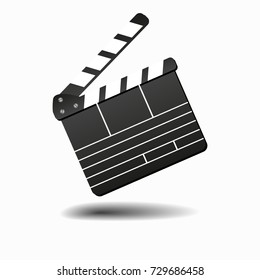 Movie clapperboard or film clapper isolated on white vector illustration. Clapperboard for video clip, board clap for production film Vector illustration