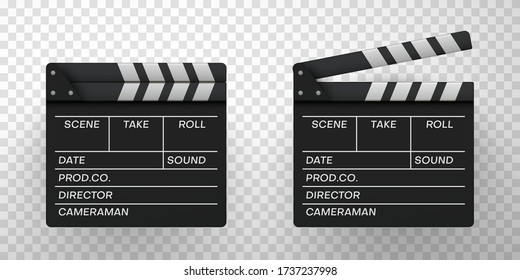 Movie clappers open, closed icons set. Clapperboards, sync or time slates in realistic style. Filmmaking, video production black devices. Vector illustration isolated on transparent background.