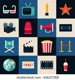 Movie Concept. Set of Flat Style Vector Icons, 3D glasses, Movie Theater, Movie Projector, Popcorn, Cinematic Award, Movie Premiere