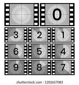 Movie count. Retro film countdown frames, old cinema filmstrip count down slides vector illustration