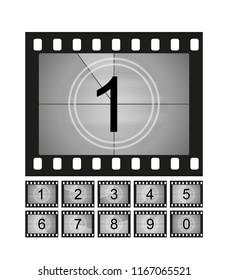 Movie countdown frames set. Old film cinema timer count. Vector illustration.