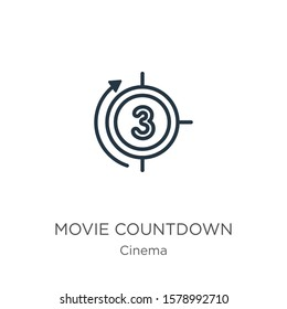 Movie countdown icon. Thin linear movie countdown outline icon isolated on white background from cinema collection. Line vector sign, symbol for web and mobile